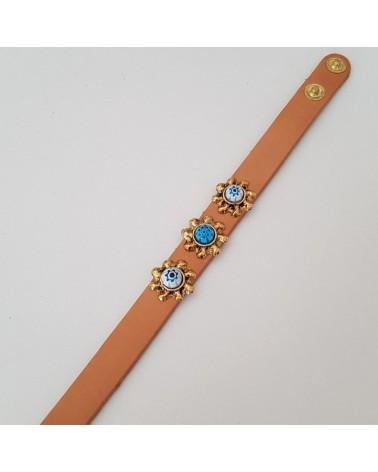 Bracelet cuir  véritable avec 3 motifs et murrina marron bijoux fantaisie fait à la main