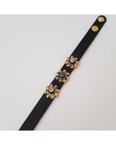 Bracelet cuir véritable avec 3 motifs et murrina noir bijoux fantaisie fait à la main